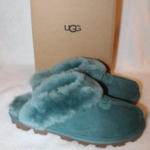 UGG COQUETTE NEW SHEARLING SLIDE SLIPPERS GREEN